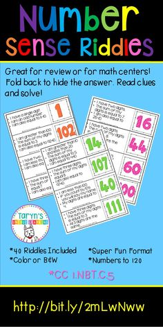 Number Sense can be a tricky concept to teach your students. These riddles make learning number sense and one's way around a 120's board engaging and fun. Print off the colorful riddles, cut apart, and fold back the answer. Clip back with a clip. Read one clue one at a time and then determine the number. Remove clip to confirm. Includes 40 riddles.
