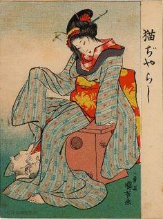 Playing with a Cat (Neko jarashi) from Ehagaki sekai