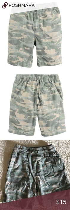 J. Crew crewcuts Boys' pull-on short in camo J. Crew crewcuts Boys' pull-on short in camo Inspired by cool surfer styles, we took the hang-ten swim trunk out of the ocean and put it on the playground with a classic chino design. Reviews state runs size smaller. Cotton. Machine wash. Item C0592. J. Crew Bottoms Shorts