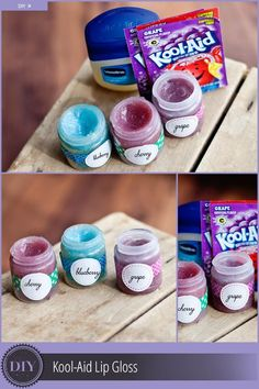 Try this colorful lip gloss made with just two ingredients: Kool-Aid and Vaseline. What a fun, easy activity for kids of all ages. The upsides: Kool-Aid comes in a variety of colors, tastes great, and is super cheap! Make a few extra and give as gifts! Diy For Kids, Crafts For Kids, Dyi Projects For Kids, Diy Gifts For Kids, Fun Crafts, Diy And Crafts, Summer Crafts, Pot Mason Diy, Diy Lip Gloss