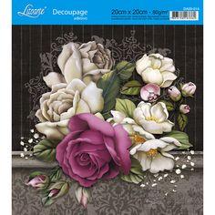 Adesivo de Papel para Decoupage Litoarte 20 x 20 cm - Modelo DA20-014 Rosas Coloridas - CasaDaArte