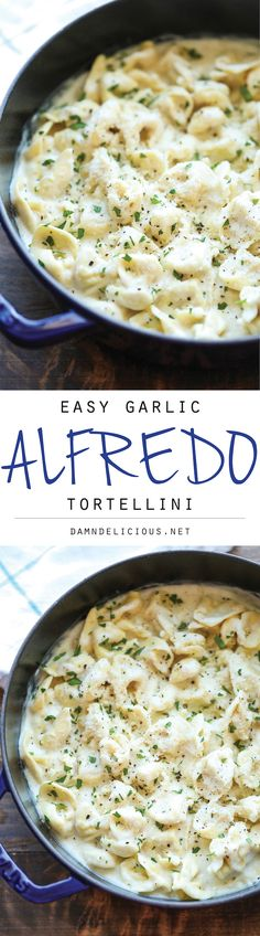 Easy Garlic Alfredo Tortellini - Simple dinner recipe.