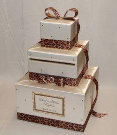 cheetah printleopard print wedding card box gold rhinestones