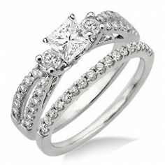 Antique Style Wedding Ring Set on 2.00 Carat  Princess cut  Diamond  Antique Style Wedding Ring Set on 10K White Gold $1,399.99