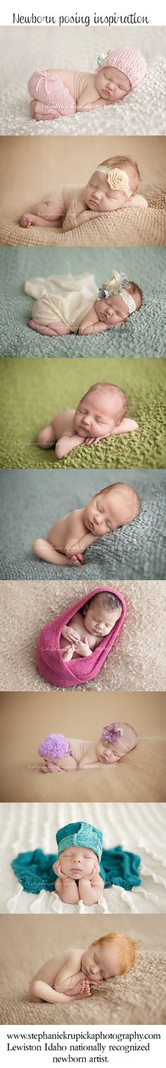 Newborn posing ideas - most of these are my current go-to's depending on the munchkin's comfiness