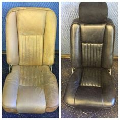Before and after car seat upholstery Car Seat Upholstery, Car Hacks, Smart Car, Massage Chair, Car Seats, Classic Cars, Furniture, Home Decor, Decoration Home