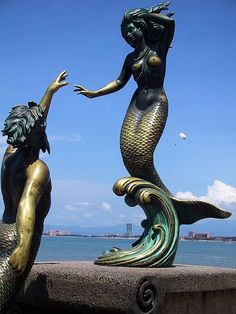 Puerto Vallarta Mermaid Statute in Mexico. The myths of mermaid have stemmed from every major culture in the world. However, the myth reports that the women mermaid were so beautiful that they hid in seal skin to cover themselves whereas the males always felt inferior and were trying to reach their desire to avoid them from pursuing human men.