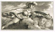 Vignette de cartons d'un jeu de loto : Minerve couvrant de son bouclier les blasons de Marie-Antoinette et du jeune dauphin. Pièce gravé en 1779 par A. St AUBIN d'après COCHIN.