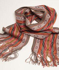 Elegant Master Weaver Baby Alpaca Scarf from Peru- Autumn Colors