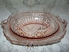 Vintage (Anchor) Hocking Mayfair Open Rose Pink Serving Bowl (C1931-1937) $28.00