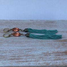 Romantic Tassel Earrings - Dazzling Peach color Swarovski Earrings- Handmade Boho Chic Earrings