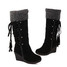 Mujer Borla zapatos PU Otoño   Invierno Confort   Innovador   Botas de Moda  Botas Tacón Cuña Dedo redondo Mitad de Gemelo Borla Negro   Beige   Marrón db28c847b40e