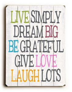 Live Simply - Inspiring slatted wood art sign