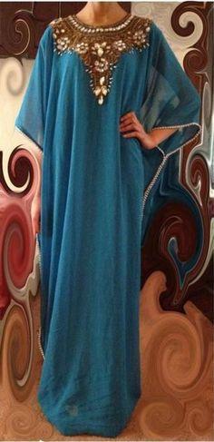 2016 nuevo azul árabe Kaftan vestidos noche Runway con mangas largas y apliques…