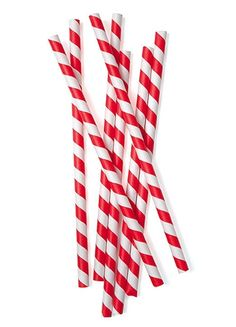 Extra Large Red and White Striped Paper Straws