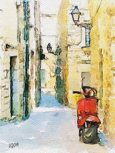Art: Vespa in Spain, watercolor ( via szukosapiens)