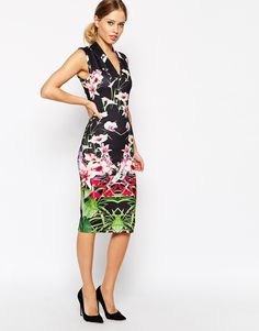 21df1260480a Image 1 of Ted Baker Midi Dress in Mirrored Tropical Print Navy Dress