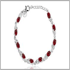 Red Ruby Sterling Silver Bracelet