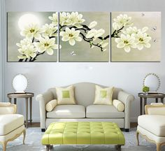 Hot Sell 3 Panels 40 x 40 cm Modern Wall Painting Impressionist White Flowers Picture Home Decorative Art Picture Paint On Canvas Prints