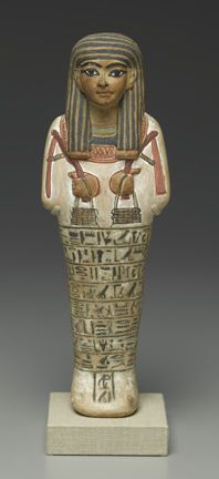 Shabty of Amunemhat, New Kingdom, Dynasty 18, reign of Tuthmosis IV to reign of Akhenaten, ca. 1400–1336 B.C.E., limestone, painted, Brooklyn Museum, Charles Edwin Wilbour Fund.