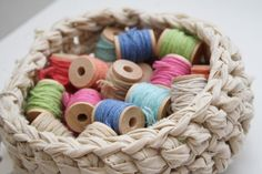 Great prop use of cotton reels for fabric bowl.