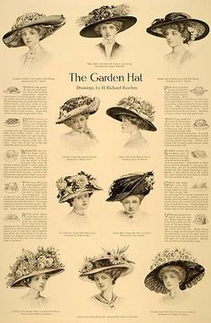 This is an original 1910 black and white halftone print for Out-of-Town, Garden, and Lingerie Hats designed by many different people including N. F. Morrill, Rowena Rice, Willard J. Valentine, L. H. Balcom, Charles Kurzman, Helen Taylor, and Mary Adams. | eBay ---VIEW 2 of 3