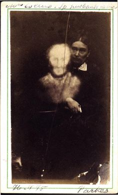 """F. M. Parkes (England)    """"Mrs. Collins & Her Husband's Father, Recognized by Several.""""    Albumen carte de visite, 2 x 3.8 inches    1875"""