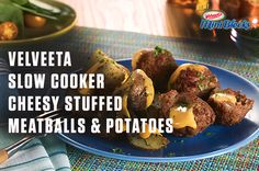 How to make VELVEETA Slow Cooker Cheesy Stuffed Meatballs & Potatoes – Just take one of VELVEETA's new 4oz. Mini Blocks and you're only a few easy steps away from meat and potatoes with a boldly cheesy twist. For more Mini Block recipes visit http://www.kraftrecipes.com/velveeta/velveeta-slow-cooker-cheesy-stuffed-meatballs-potatoes-195351.aspx
