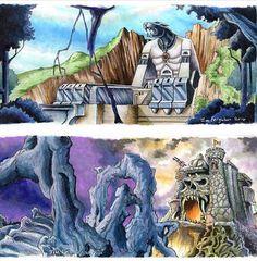 #CatsLair and #CastleGrayskull #art by Jim Ferguson. Repost from @hemania  #HeMan #Thundercats #MastersoftheUniverse #MOTU