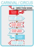 Circus Party Directional Signs – Arrows – red/aqua