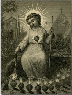 Heart of Jesus, burning for love of us, inflame our hearts for love of Thee