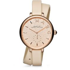 Marc by Marc Jacobs Sally Floral Rose Goldtone Stainless Steel &... ($235) ❤ liked on Polyvore featuring jewelry, watches, apparel & accessories, floral watches, leather wrist watch, pink leather watches, leather jewelry y double wrap watches