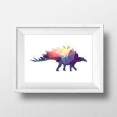 Stegosaurus. Dinosaur Low Poly Print. Low poly art. by PrintAndUse
