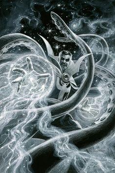Doctor Strange - Black Board, Greg Hildebrandt Cloak Of Levitation, Eye Of Agamotto, Doctor Stranger, The Ancient One, Strange Tales, Spider Gwen, Comics Universe, Daydream, Line Art