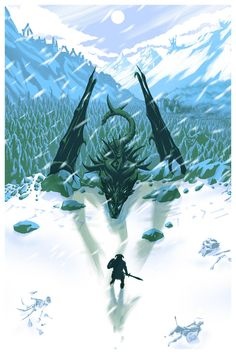 Limited edition Skyrim screen print that I made for Bethesda.