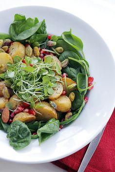 vegan: potatoes, baby watercress and pomegranate...
