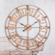 Large Iron Metal Wall Clock French Provincial 76 cm Copper