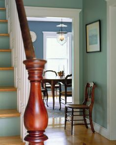 love the painted blue stairs -- Sarah Taylor - farmhouse - staircase - burlington - Connor Homes