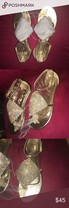 NEW‼️ Diamond Embellished Gold Sandals, Size 7.5 Brand new and never worn diamond sandals from David's Bridal. Very fancy! Has tags attached. Always accepting offers! David's Bridal Shoes Sandals