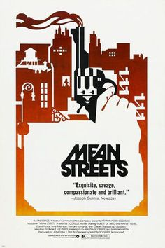 Martin Scorsese's MEAN STREETS movie poster ROBERT de NIRO Guns Murder 24X36