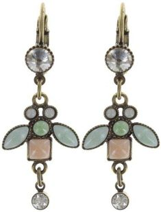 earring eurowire dangling Bug Me Now pastel multi antique brass