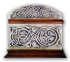 CELTIC CHEST 4 - SIDE.    Embossed (repousse) tin chest with Celtic motives; animals and ornamentation.  30 x 22 x 20 cm.    See Complete Here: [link]
