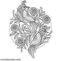 Spring Flowers Coloring Pages For Adults Printable ⋆ Kids Activities Rose Coloring Pages, Spring Coloring Pages, Mandala Coloring Pages, Colouring Sheets For Adults, Coloring Sheets, Coloring Books, Printable Adult Coloring Pages, Bird Embroidery, Zentangle Patterns
