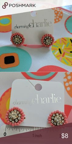 Coral Sparkle Beaded Earrings Gold colored hardware. Never worn. Charming Charlie Jewelry Earrings