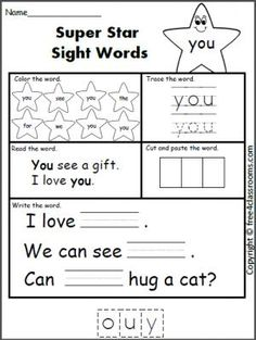 Best Sight Word Worksheets Images In   Preschool School  Free Super Star Sight Word Worksheet  See Great Sight Word Activity For  Morning Work Or Homework