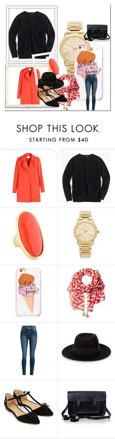 Untitled #1 by zsuzsanna-janosik on Polyvore featuring J.Crew, Carven, Accessorize, The Cambridge Satchel Company, Michael Kors, Kenneth Jay Lane, Kate Spade, San Diego Hat Co. and Maison Michel
