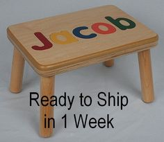 Wooden Name Puzzle Step Stool Bench - Birthday Gift - Wood - Personalized Puzzle…