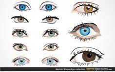 Реалистичные женщина глазами Векторная коллекция