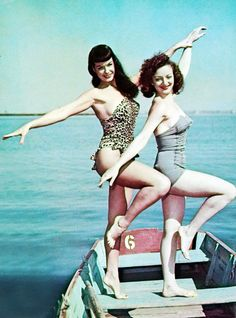 Bettie Page in Florida, 1954 - vintage leopard print bathing suit  #1950s