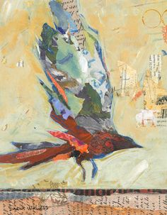 Bird mixed media collage painting - Shelli Walters